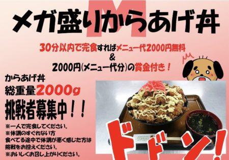 [庵古堂]総重量2kg!メガ盛りからあげ丼への挑戦者求む!